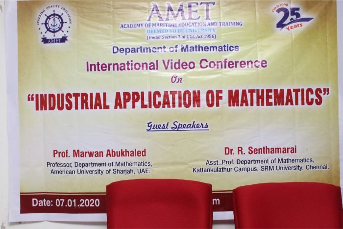 "International Video Conference on ""Industrial Application of Mathematics"", organized by Dept of Mathematics, on 07 Jan 2020"