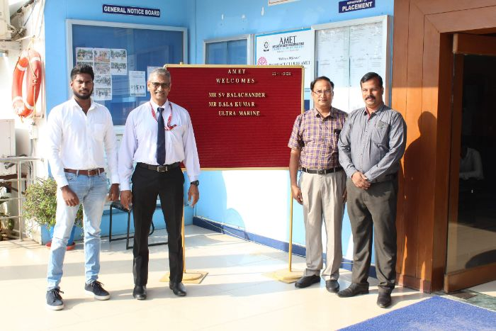 Mr. S.V. Balachander, Mr. Balakumar M/s.Ultra Marine visited to recruit our students from Naval Architecture, on 22 Jan 2020