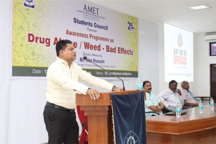 Students Council organized an awareness programme on Drug Abuse / Weed - Bad Effects held at Shri Janakiraman Auditorium. Special Address by Mr. Riaz Hussain, Deputy Superintendent of Police Narcotics Control Bureau, Chennai, on 13 Sep 2019
