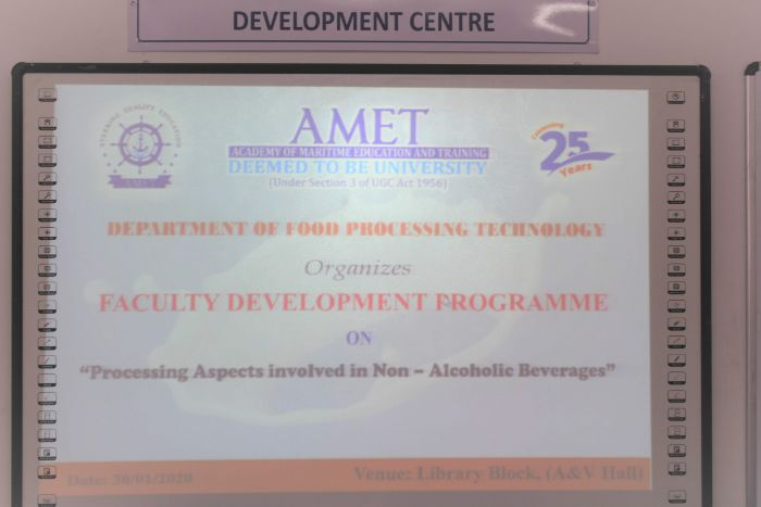 Faculty Development Programme on Processing Aspects Involved in Non-Alcoholic Beverages, organized by Dept of Food Processing Technology, on 30 Jan 2020
