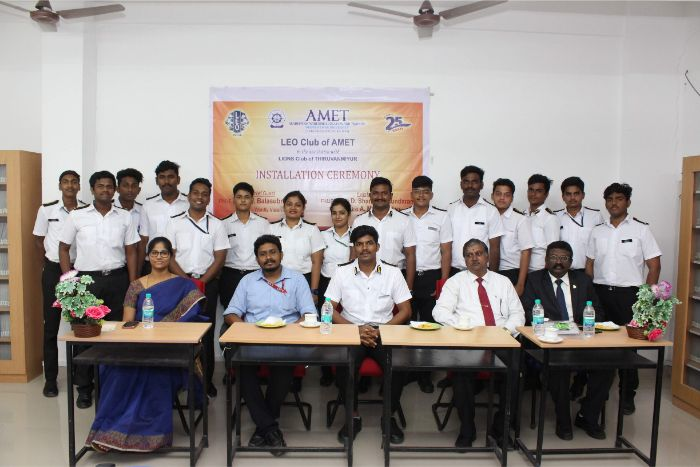 LEO Club of AMET in the association with Lions Club of Thiruvanmiyur organized Installation Ceremony at AV Hall, Library. Chief Guest : PMJF Lion A.N. Balasubramanian, DC-Wordly Vision and Felicitation address by PMJF Lion Er. D. Shamugasundaram and PMJF Lion A. Manikandan, on 13 Sep 2019