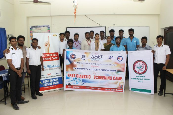 Community Activity Programme on Free Diabetic Screening Camp at AMET Campus, organized by Dept of IT, on 08 Feb 2020