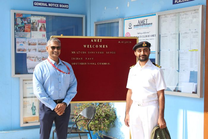 Mr.LT CDR Davinder Singh, Indian Navy, Southern Naval Command visited AMET Campus, on 10 Feb 2020