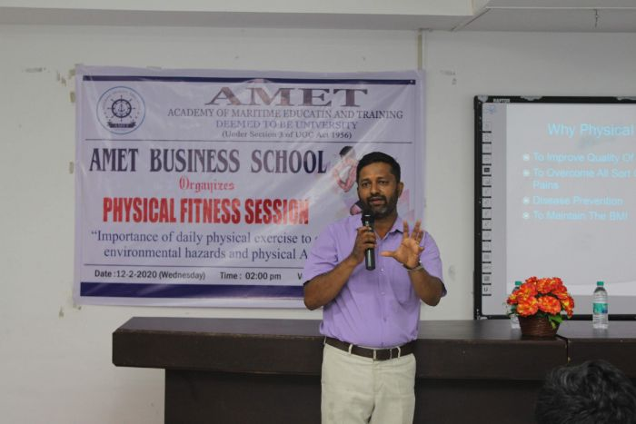 Physical Fitness Session, organized by AMET Business School, on 12 Feb 2020