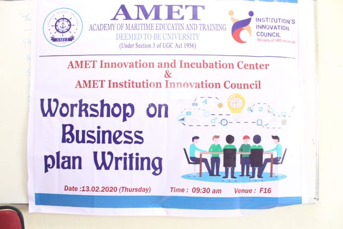 AMET Innovation and Incubation Center & AMET Institution Innovation Council, Workshop on Business Plan Writing, on 13 Feb 2020