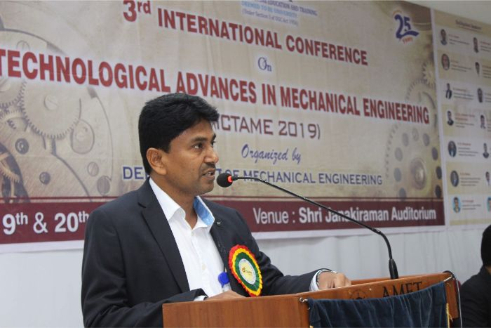 Department of Mechanical Engineering organized 3rd International Conference on Technological Advances in Mechanical Engineering (ICTAME 2019) at Shri Janakiraman Auditorium, on 19 Sep 2019