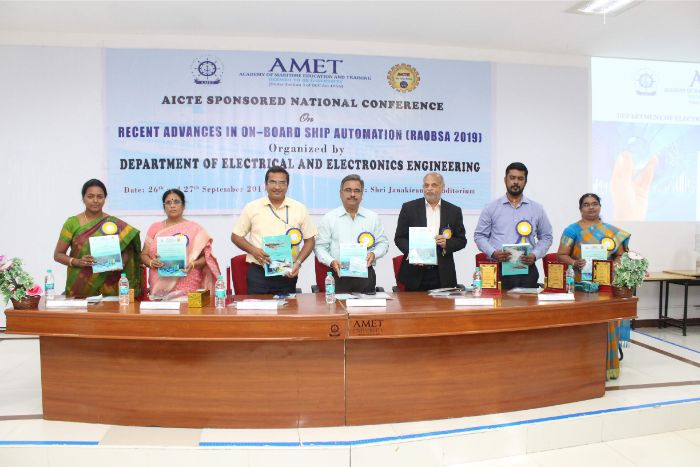 AICTE sponsored National Conference on Recent Advances in on-Board Ship Automation (RAOBSA 2019) organized by Department of Electrical and Electronics Engineering at Shri Janakiraman Auditorium on 26 Sep 2019