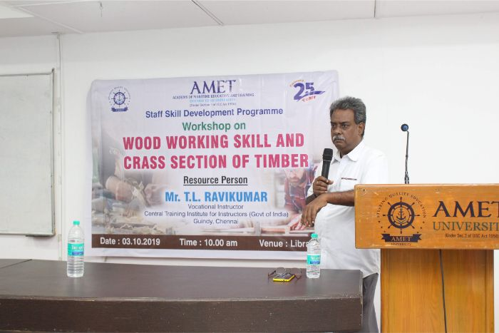 Staff Skill Development Programme workshop on Wood Working Skill and Cross section of Timber held at DNV Hall II, on 03 Oct 2019. <br> Resource Person : Mr. T.L. Ravikumar, Vocational Instructor, Central Training Institute for Instructors (Govt. of India), Guindy, Chennai