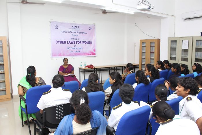 Centre for Women Empowerment organized Seminar on Cyber Laws for Women at Library Audio Visual Hall, on 18 Oct 2019