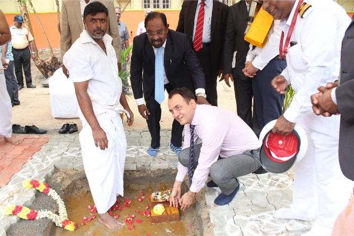 Foundation Stone Laying Ceremony of A.P.Moller - Maersk Centre of Excellence held at Thenpattinam - Mugaiyur on 24 Oct 2019. Foundation stone laid by Mr. Niels H.Bruus, Head of Marine - HR, Fleet Management and Technology, A.P. Moller - Maersk A/S, Denmark.